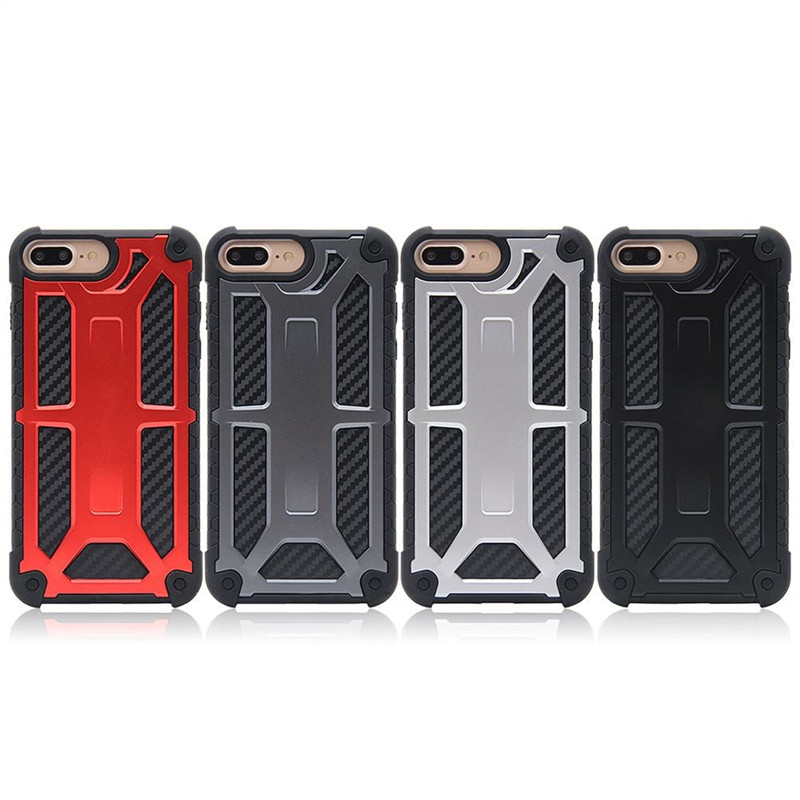 Carbon Fiber 5 Layer Protective Case for Samsung S9 S9 Plus Monarch Hybrid Armor Case For iPhone X 7 8 6s 6 Plus Phone Case with Retail Box