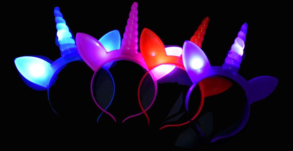 Unicorn LED Hairpin toy Rave Party Glowing Flashing Hairband flashHair Hoop Kid Halloween Cosplay Prop pub props FFA986