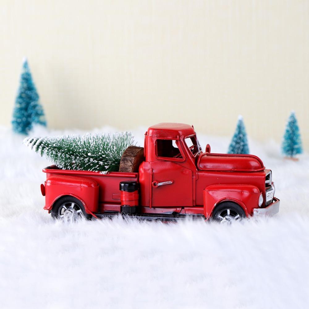 Christmas Red Truck.Aytai Cute Little Metal Christmas Red Truck Vintage Red Truck Christmas Tree Decor Handcrafted Kid Gift Table Top Decor For Home Y18102909 White
