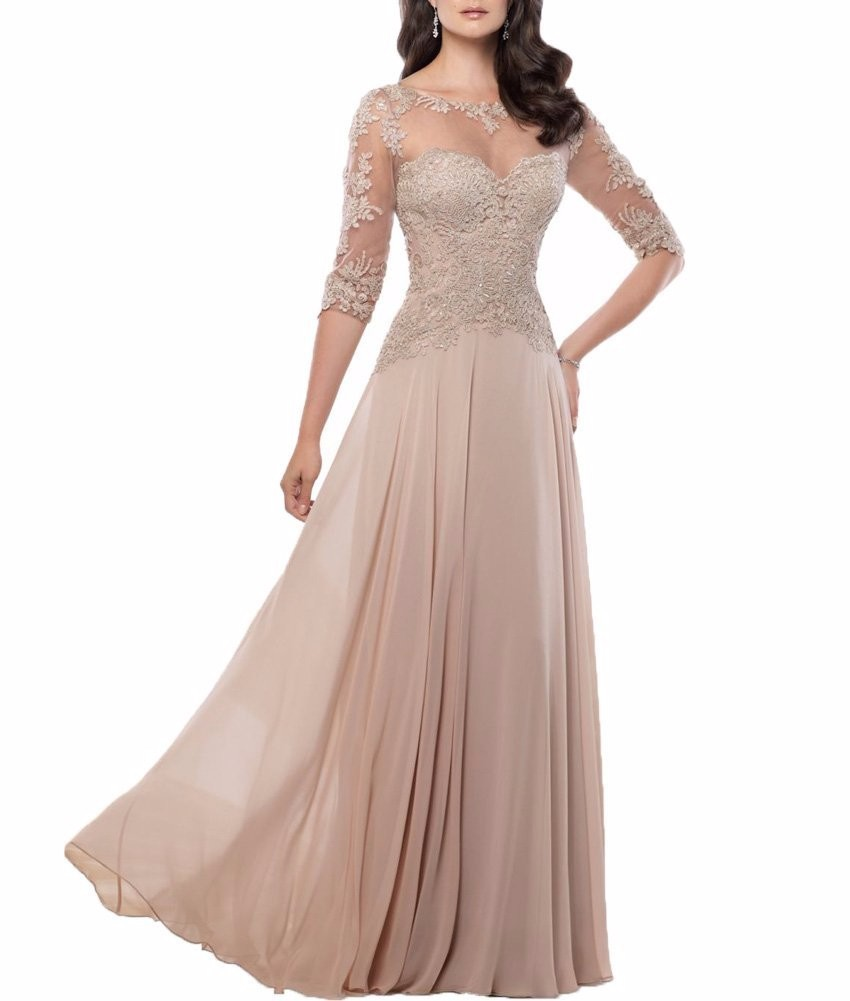 Chiffon-Navy-Blue-Dark-Red-Champagne-Mother-of-the-Bride-Dresses-2016-Three-Quarter-Sleeves-Long