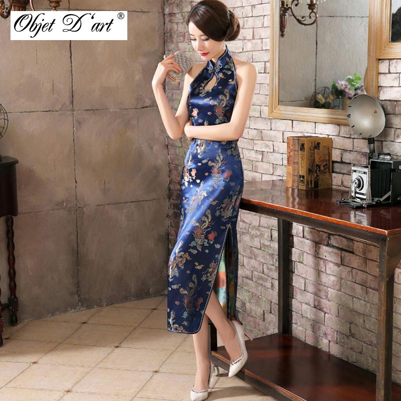 femmes chinois dentelle fleur col Mao Ethnique Robe Longue Vintage Qipao