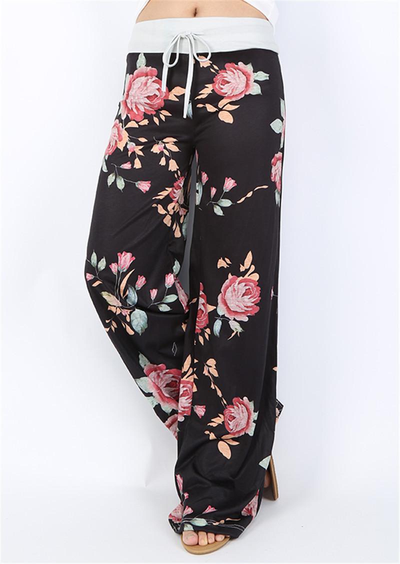 Women Floral Print Yoga Palazzo Trousers 32 Styles Wide leg Trousers Ties Design Loose Sport Harem Pant High Waist Boho Pants Lady