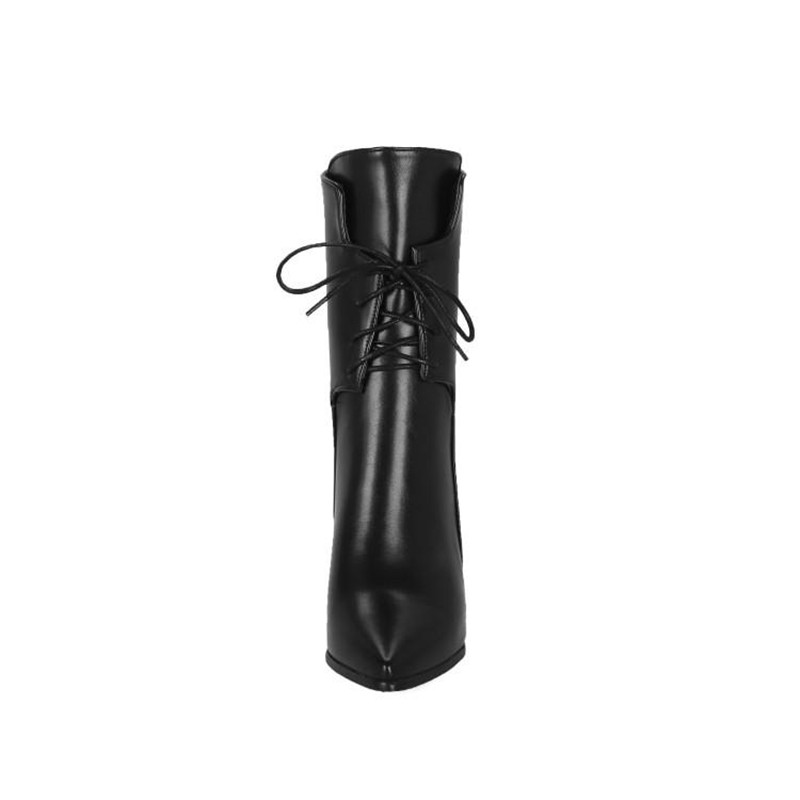 Brand Designers 2018 New Winter Women Shoes Black High Heels Riding Boots Lacing Platform Ankle Boots Chunky Heel Big Size 32-43 (10)