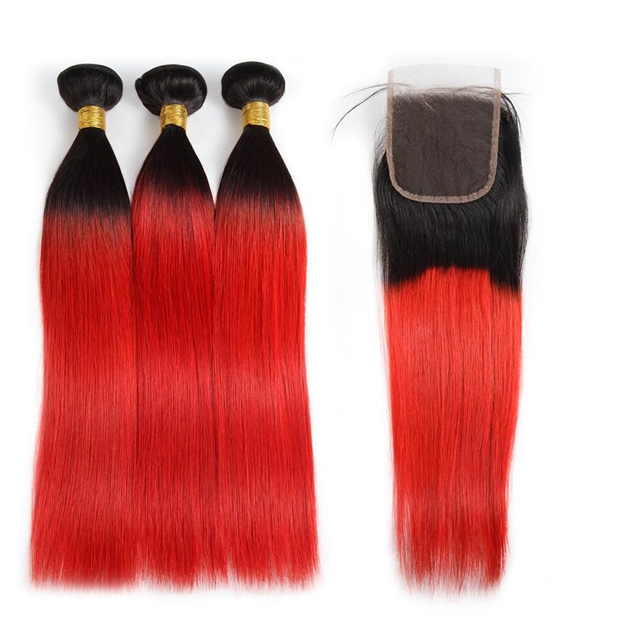 Couleur Avec Du Rouge ishow ombre couleur t1b / rouge cheveux tissages extensions cheveux  péruvien 3bundles avec fermeture ombre vague de corps cheveux
