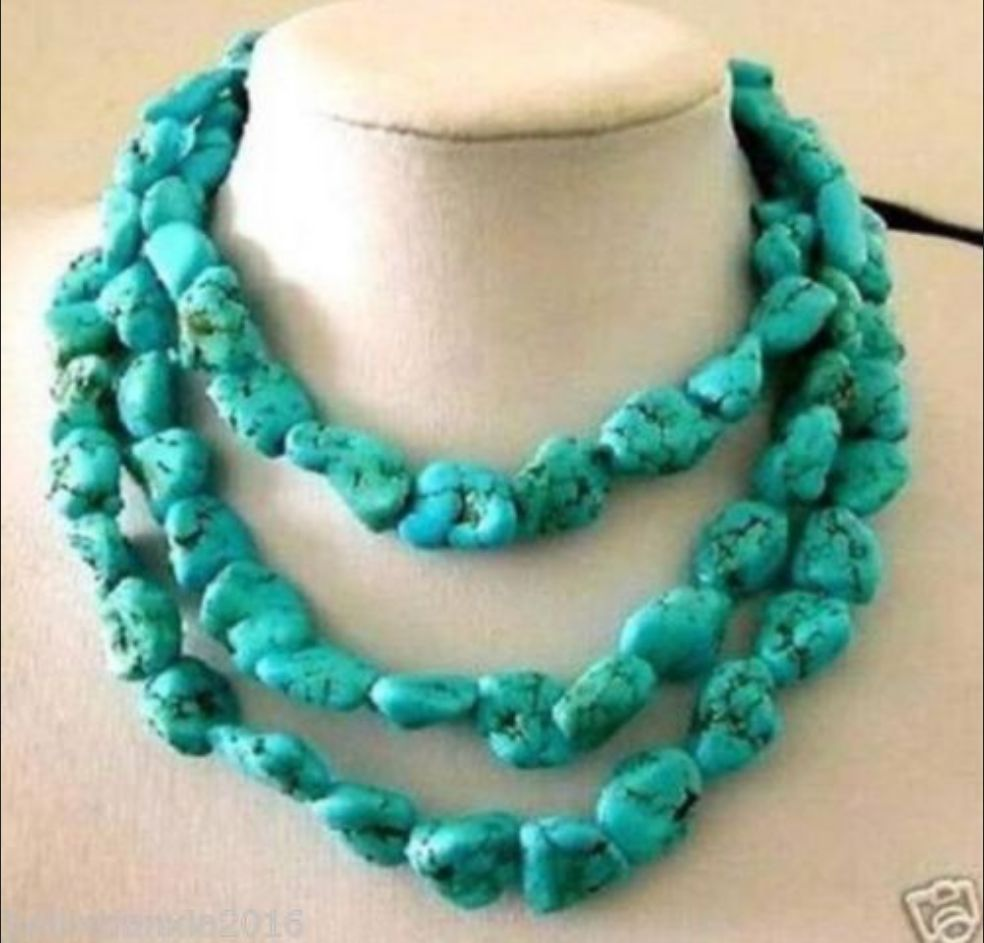 """new10 mm blue multicolor Turkey Turquoise Beads Gemstone Necklace 18 /"""""""
