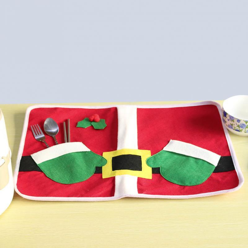 Christmas Santa Claus Costume Table Placemat Hand Bags Holiday Table Placemats Setting Mat Cutlery Holder