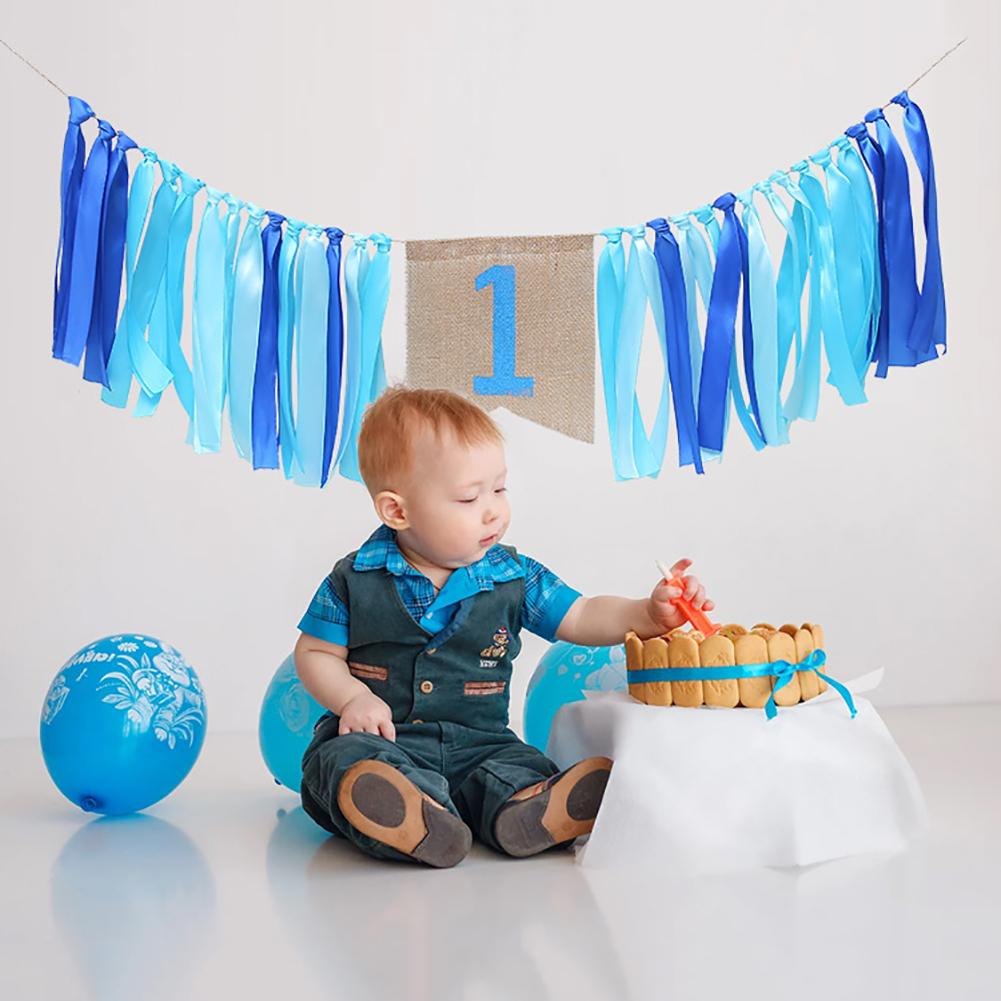200cm Baby One Year Old Birthday Party Ribbon Flags Garland Banners Bunting Decoration