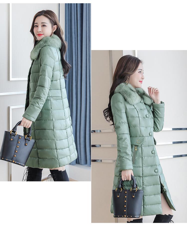 8300 Plus Size Faux Fur Collar Leather Jackets Women Slim Long Warm Down Fur Coat Elegant Top Quality Manteau Femme Hiver 5xl 2018 5