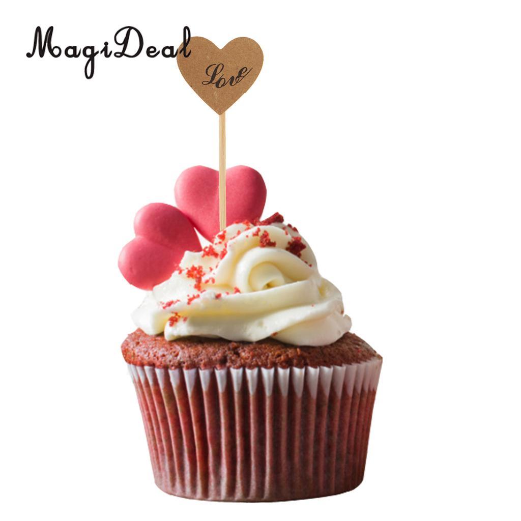 100 Pieces Vintage Kraft Love Heart Cupcake Topper Food Pick Wedding Engagement Decor I DO/LOVE Prints