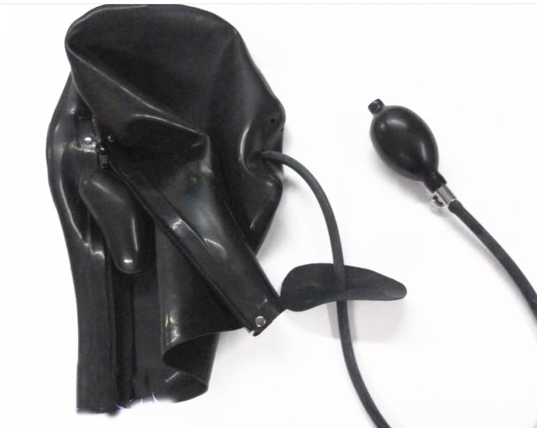 Latex Sex Hood Bondage Kopfmaske mit aufblasbarem Mundknebel Gummi BDSM Play Fetisch Sex Toys Schwarz für Hausfrau