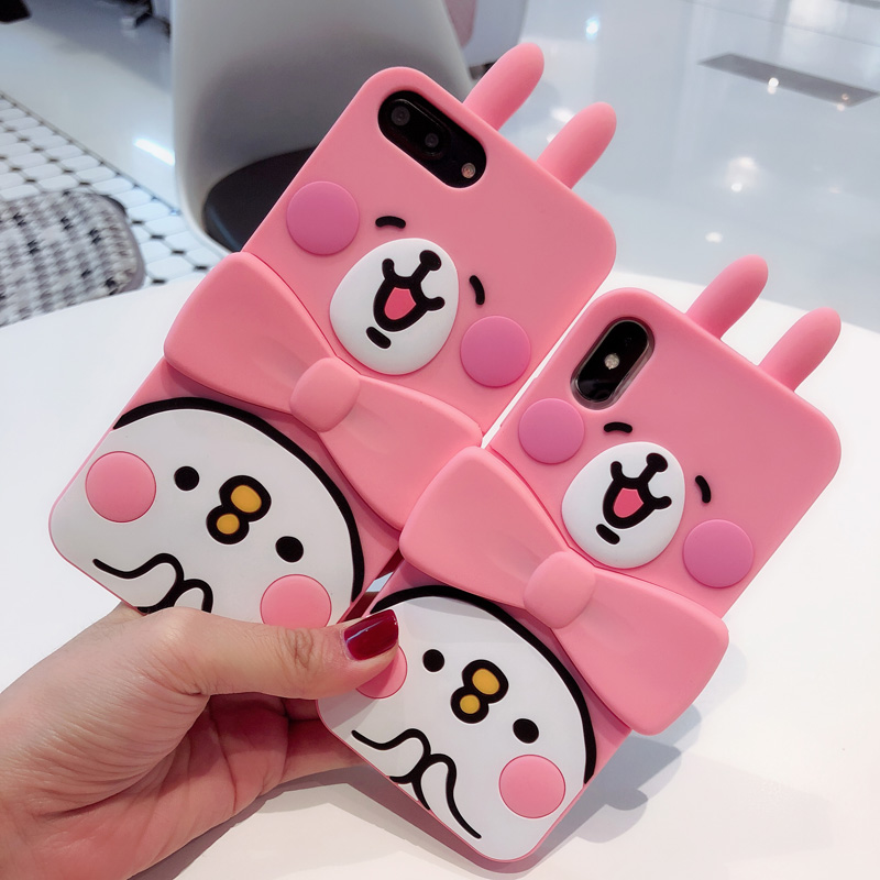 For iphone XS Max Cartoon rabbit full cover soft case For iphone X XS XR 7 8 6 6s 6plus Silicone 3D bow stand support fundas