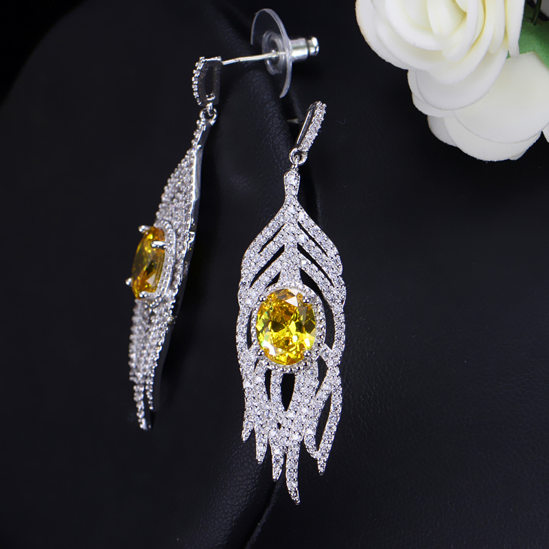 Yellow Crystal Earrings 2