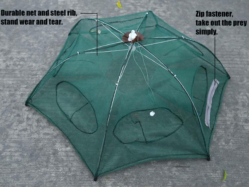 Folded Fishing Net Fish Shrimp Minnow Crab Baits Cast Mesh Trap