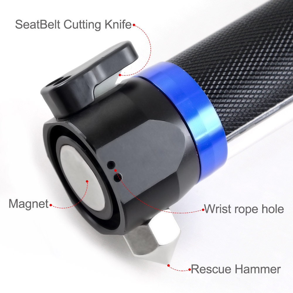 Multi-Function Solar and USB Charge Flashlight with Safety Hammer Rope Cutter and Magnet Emergency Survival Tool for Outdoor Torch