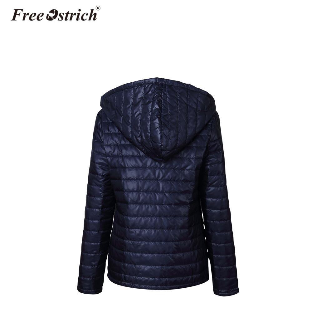 Free Ostrich Jacket Women Autumn Winter Hooded Warm Zipper 2018 Black Coats Long Sleeve Solid Parkas Coat L0530 S18101205