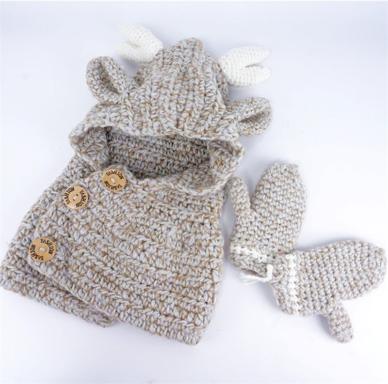 Fashion Knitted Kids Winter Elk Hat Scarf Gloves 3 in Baby Boy Girls Knitting Caps Christmas Elk Deer Crocket Xmas Eve Gift 3D Cartoon