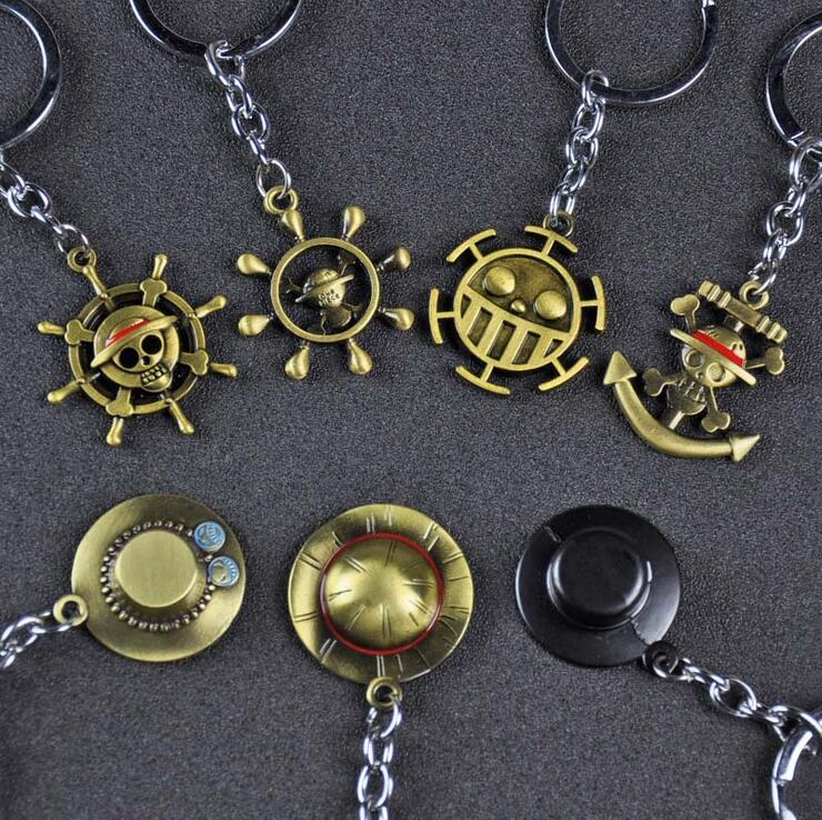 Anime One Piece Sanji Skull Pirate Pendant Key Ring Cosplay Keychain