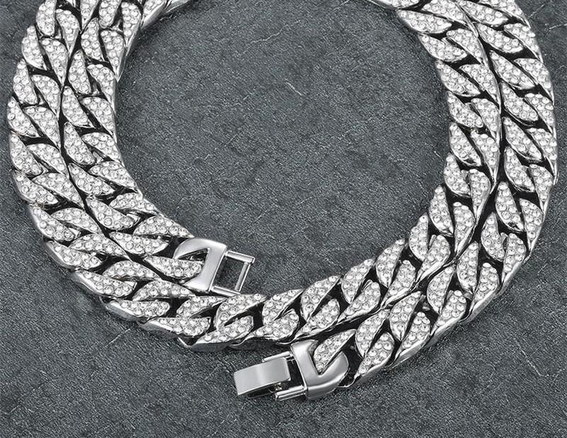 Moda Uomo Design Collane spesse 14mm Miami Curb Collana a catena cubana Collana in argento dorato con strass
