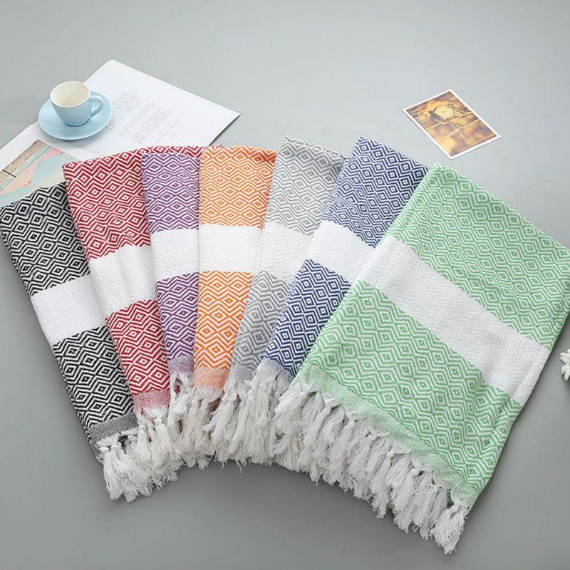 Absorbent Beach Towel Dollar Pattern Striped Bath Towel Shawl Scarf SPA Yoga Gym