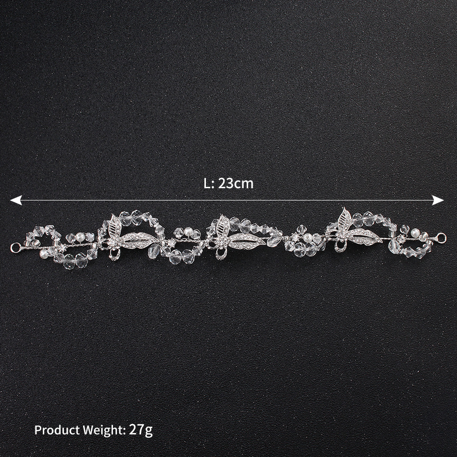 New alloy butterfly crystal handmade bridal tiara silver pearl wedding feminine headband hair band jewelry wholesale