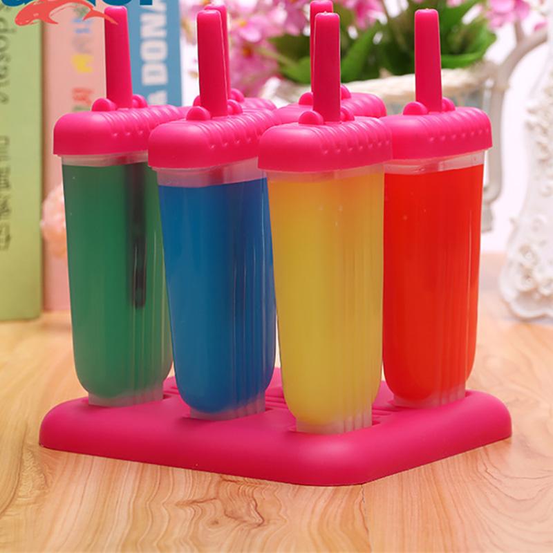 Célula 6 Frozen Ice Lolly Hacedor de Helado Lolly Moldes colorido Bandeja no adhesiva