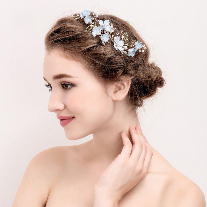 Blue Handmade Flower Wedding Hair Comb Bridal Hair Pin Rrhinestone Pearl Jewelry Hair Accessories for Girls Women Bridesmaid (3)