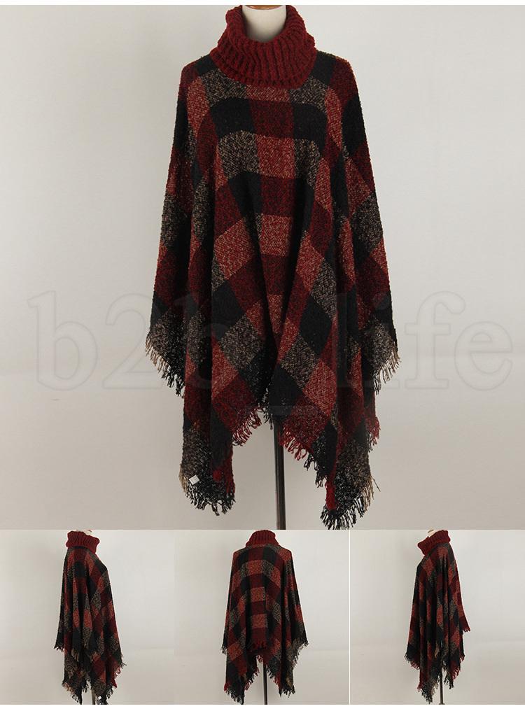 12styles Plaid Poncho Tassel Shawl Knitted Coat Women winter warm Tartan Sweater Wrap Fashion Cardigan Cloak Vintage Blanket Scarf FFA1018