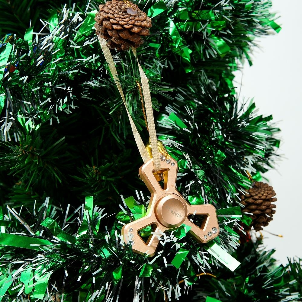 Rose Gold Plated Hanging Christmas Tree Triangle Spinner Ornament w/ Matashi Crystals (2)