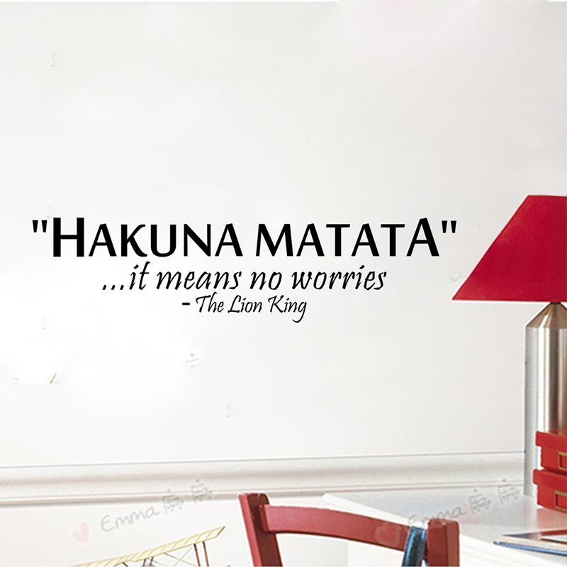 Hakuna Matata It Means No Worries Vinyl Quotes Wall Stickers Art Decals Letters Living Room Indoor Home Decor Diy Black Stickerhaif