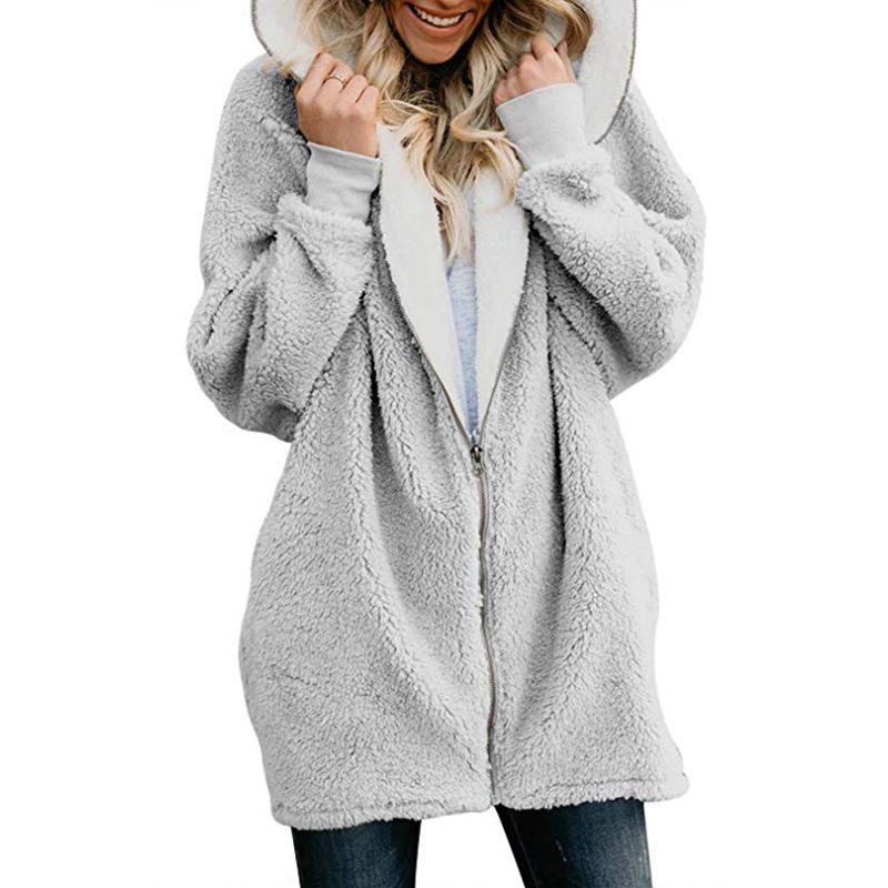 Plus Size Women Sherpa Coat Winter Fleece Jacket Full Zipper Outwear Hoodie Hooded Casual Coats Fuzzy Fur Wool Coat Sweatshirt Brand Design