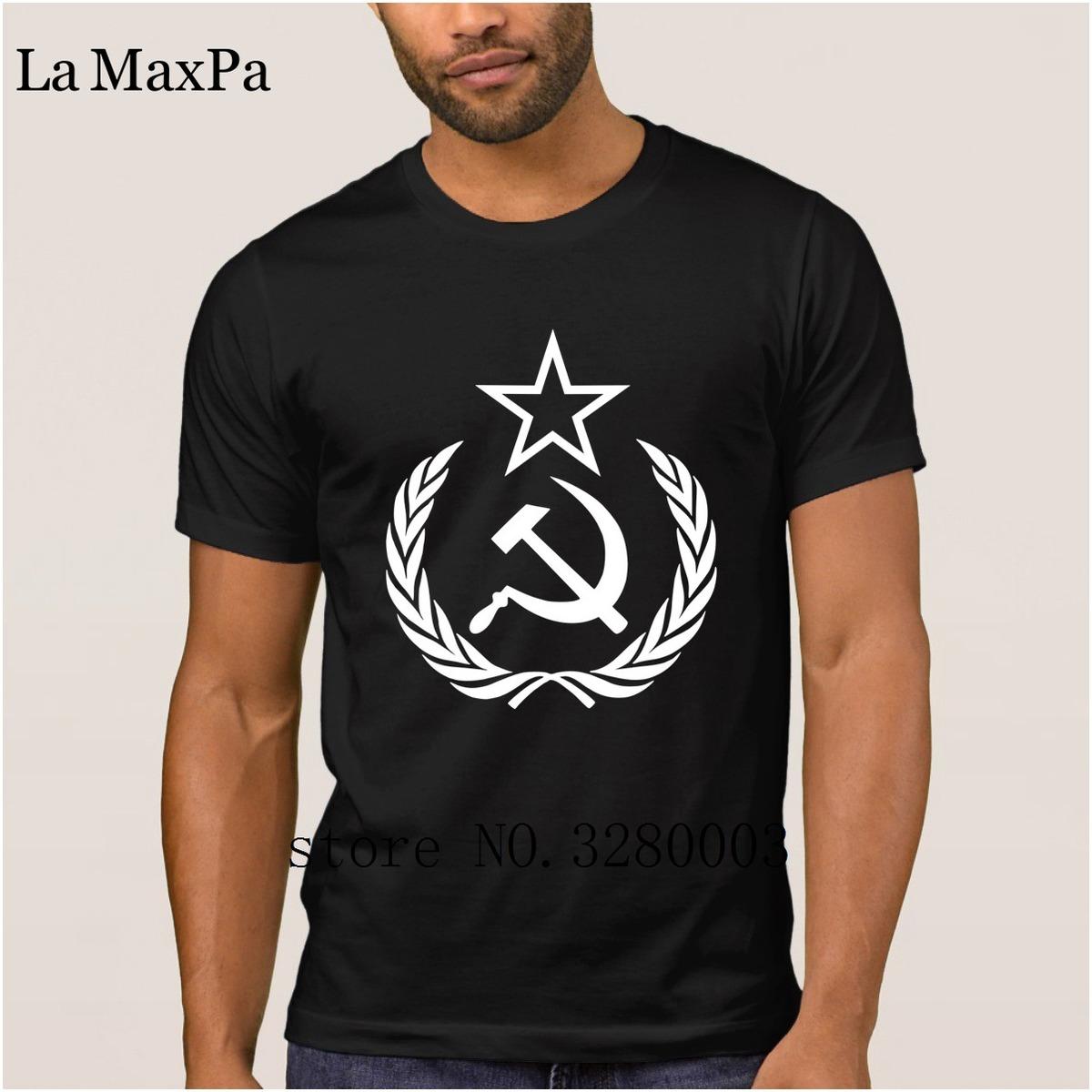 La Maxpa Design Authentic hommes t shirt marteau faucille étoile couronne t-shirt hommes Summer Style Unique tee shirt homme mâle vente chaude