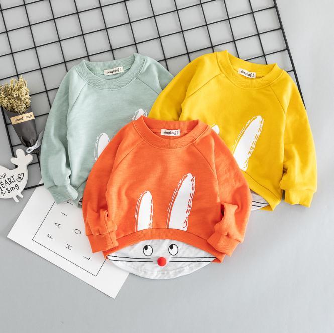 Kids Boy Girls Round Neck Sweater Girls Cute Rabbit Long Sleeve T-shirt Tops Children Clothing for 1-4 year toddler