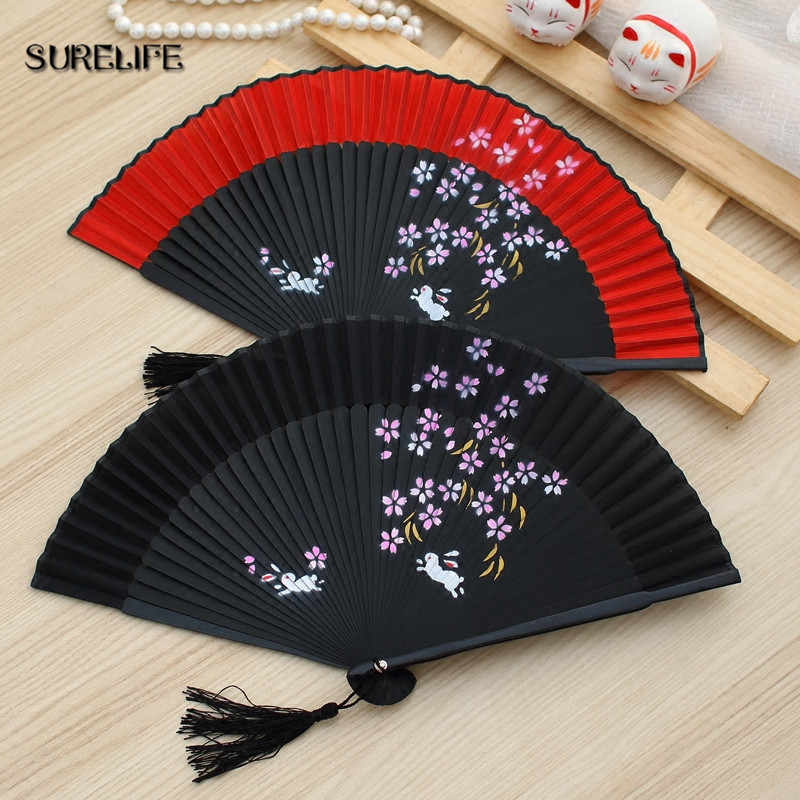 Surelife High Quality Japanese Silk Sakura Painting Folding Fan with Gift Bag Tassel Wedding Gifts for Guests Party