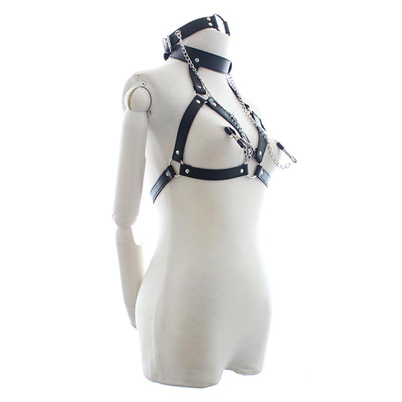 Noir en cuir PU poitrine ouverte Lingerie Sexy pour les femmes bouche Gag et pinces à mamelons Fétiche Bondage Retenue Costumes Sexy Nouveau