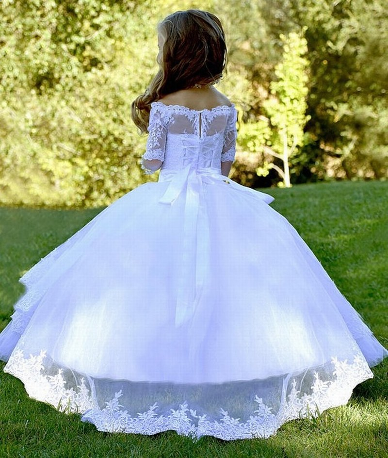 Off Shoulder Lace Girls White Wedding Baptism Flower Girl Dresses First Communion TUTU Princess Gown Short Sleeve Pattern xk58