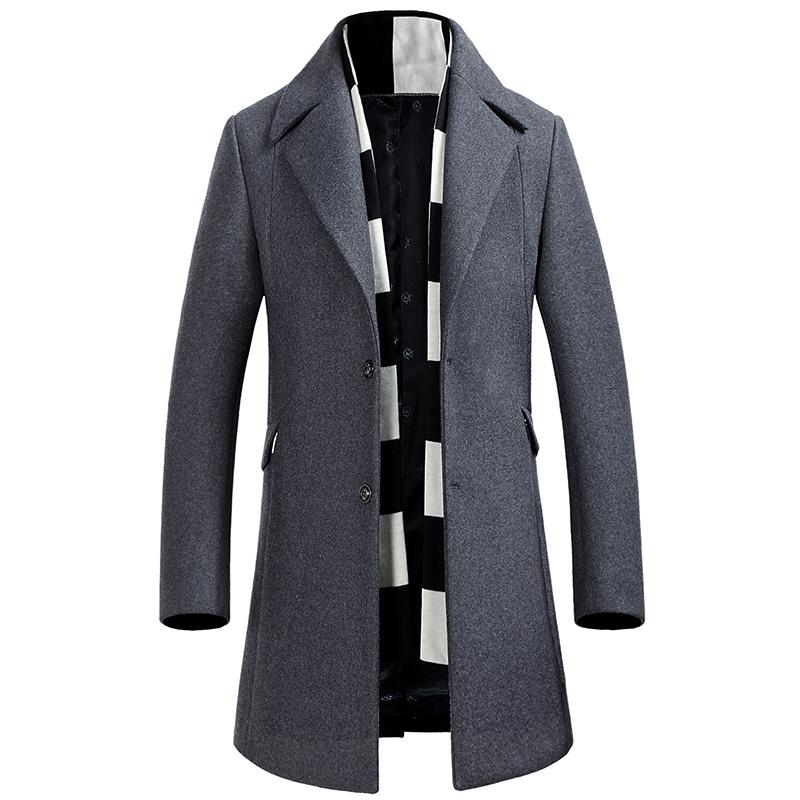 Fit Mantel Slim Einreiher Herren Coat Cashmere Grau Trench Von Warm Wolle Großhandel Verdickung Lange Jacke Marineblau Wintermantel PkTwOZXiu