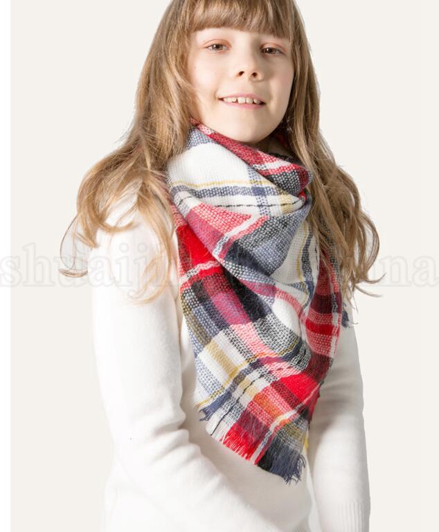 Kinder Winter Schal Triangle Plaid Nachahmung Kaschmir Winter Pashmina Warme Schals Poncho Cashmere Quaste Schals KKA5998