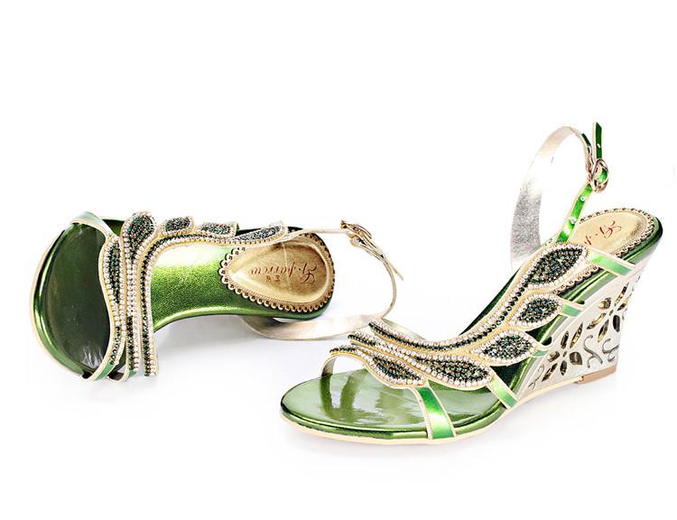 2016 Summer New Luxury Diamond Shoes Women 8cm High Heels Sexy Wedge Sandals Big Size 1110