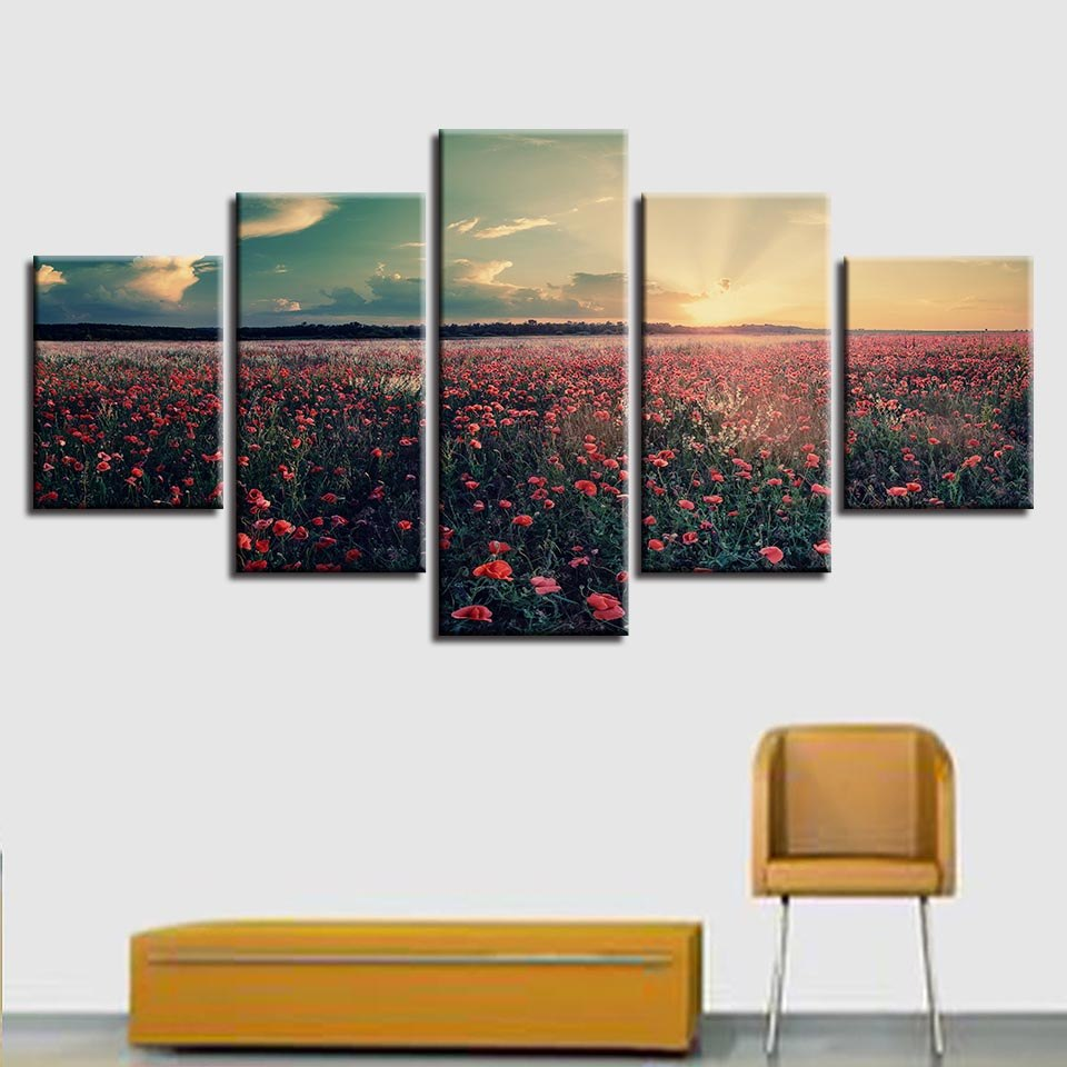 Canvas Printed Pictures Modular Wall Art Framework Sunset Red Flowers Sea Painting Abstract Scenery Poster Home Decor