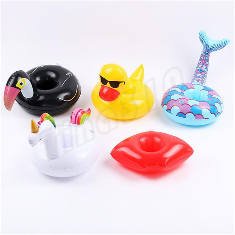 Fashion Inflatable Cup Float Flamingo Cup Holder Posavasos Inflables Drink Holder para piscina Colchones de aire para taza Artículos de fiesta