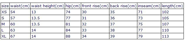 size chart of high-waisted leggings