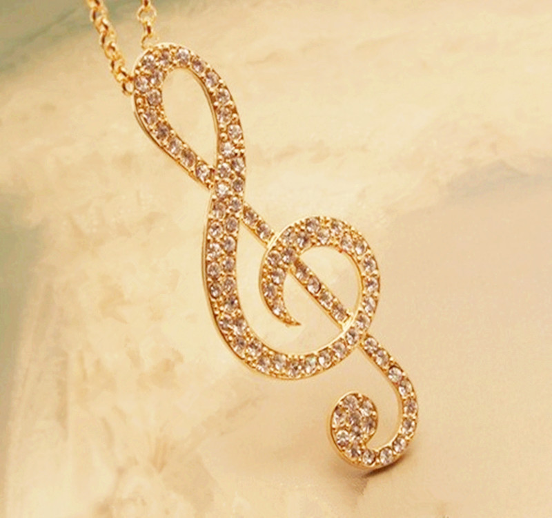 Elegant Women Chic Crystal Rhythm Music Note Pendant Chain Sweater Necklace Jewelry Ornaments Fantastic Choker Torque Necklaces