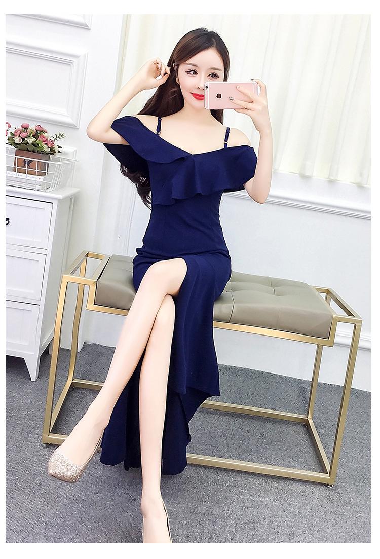2019 Verano Nueva atmósfera Noble Elegancia Sexy División Tenedor Hombro Falda larga Anfitrión Vestido de fiesta Fiesta Cena Vestido formal A0046