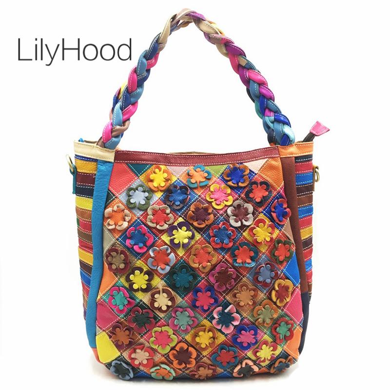 Womens Leather Top Handle Shoulder Handbag Footprint Large Work Tote Bag