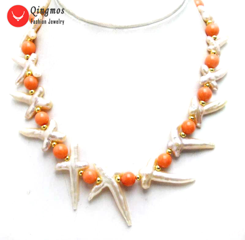 wholesale Natural Pearl Necklace for Women with 30*60mm Purple Cross Shape Pearl & 9-10mm Pink Coral Necklace Jewelry 17''