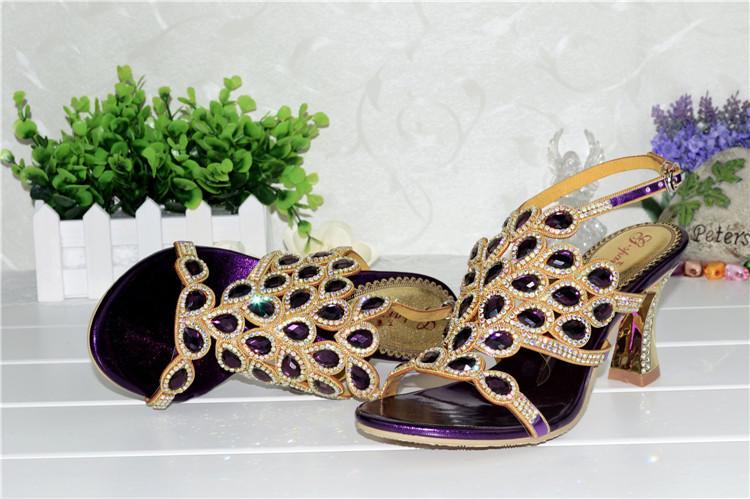 Korean Style Diamond Crystal Luxury Sandals High Heels Roman Womens Purple Evening Shoes Plus Size 11 Fashion 2016 Summer9