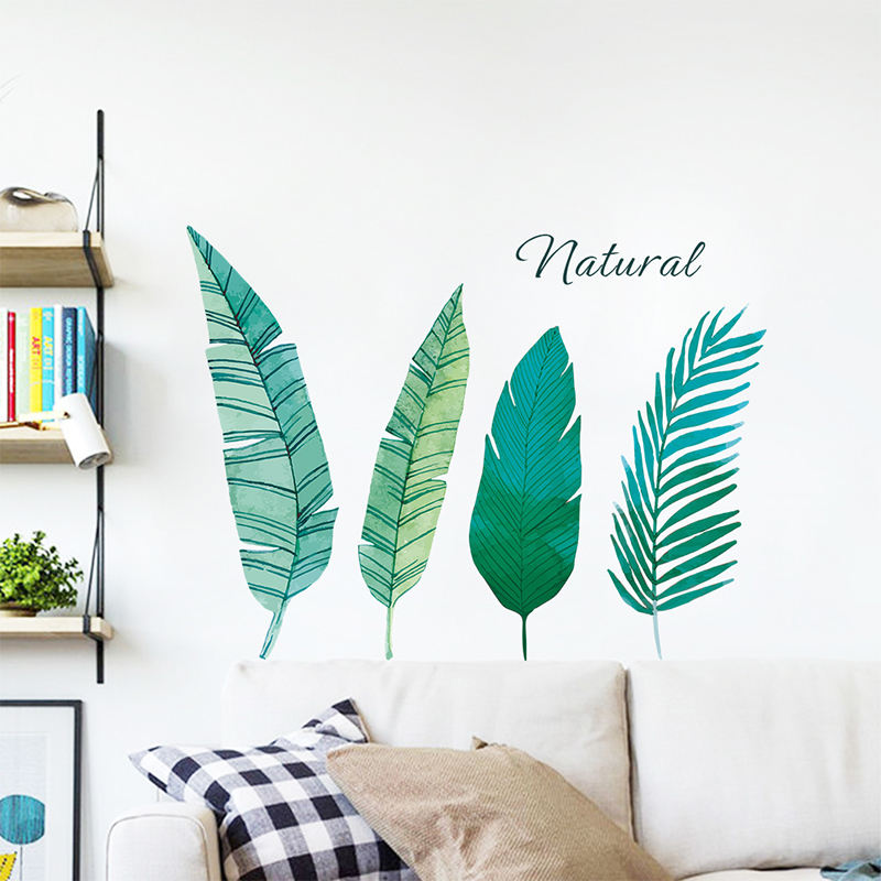 Palm Leaves Wall Stickers For Living Room Bedroom Home Decoration Accessories Green Leaf Ferns Decor Murals PVC Wall Art Decalshaif