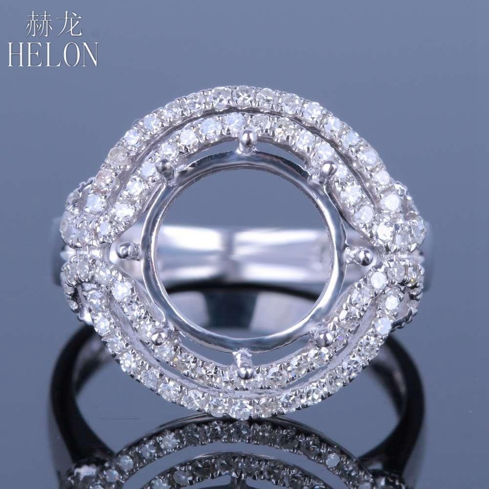 HELON Round Cut 11-12mm Solid 14K AU585 White Gold Ladies Engagement Wedding Semi Mount Natural Diamonds Ring Trendy Jewerly