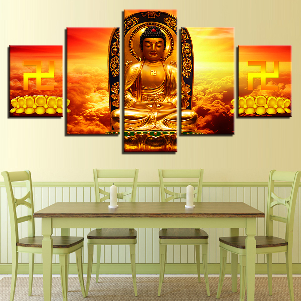 Canvas Painting Home Decor Framework Gold Buddha Statue Bottom Of Lotus Seed Pictures Modular HD Prints Poster Wall Art