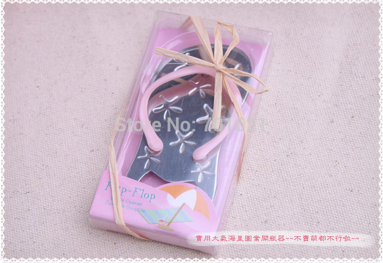 wedding favor bridal shower guest gift Flip flop wine bottle opener with starfish